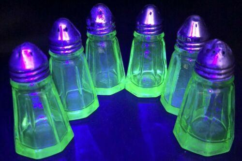 SIX Hazel Atlas Paneled Uranium Glass Salt & Pepper Shakers Collectors