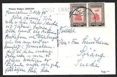 Jordan 10f pair on 1950s Winter Palace Jericho postcard to Sweden