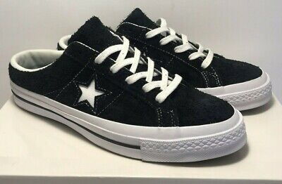 Converse Womens Sz 10 Mens Sz 8 One Star Mule Slip Leather Black Low Shoe162066C