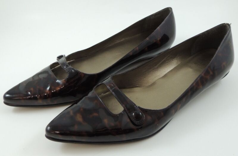 Stuart Weitzman Black and Brown Tortoise Shell Patent Leather Low Heel Flats 8 M