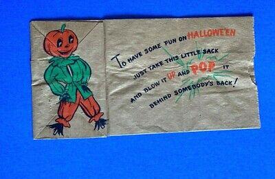 "Vintage ""Happy Halloween"" Hallmark Brown Paper Sack Card-Scarecrow JOL"