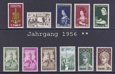 Saarland - Jahrgang 1956 Mi. Nr. 368 / 378 postfrisch komplett ( 39 )