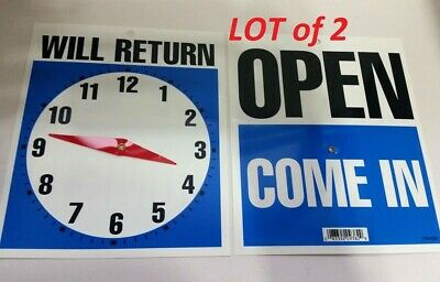 2 Double-sided Open-come In Will Return Sign With Clock Hands 7.5 X 9 Rg1022