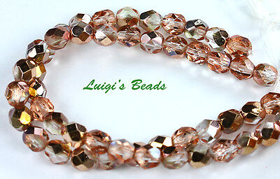 25 Apollo Gold Czech Glass Firepolished Faceted Round Beads 6Mm