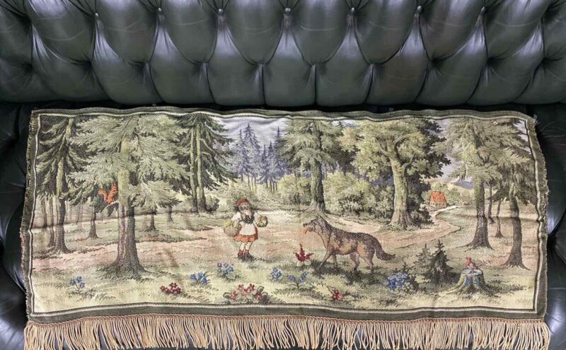Antique French German Little Red Riding Hood & Wolf Wall Tapestry