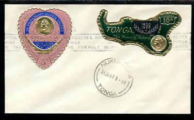 TONGA 136 & C7 ON COVER DATED JAN. 31, 1967,   (TON016)