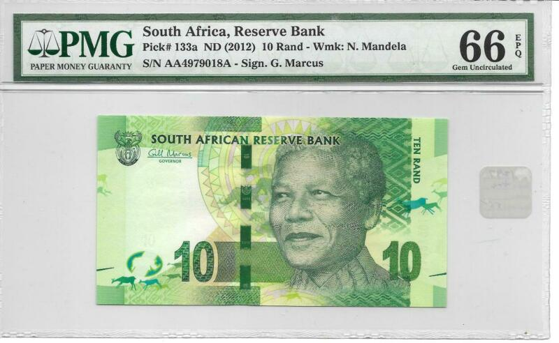 South Africa 2012 10 Rand Nelson Mandela P133a  PMG66 EPQ