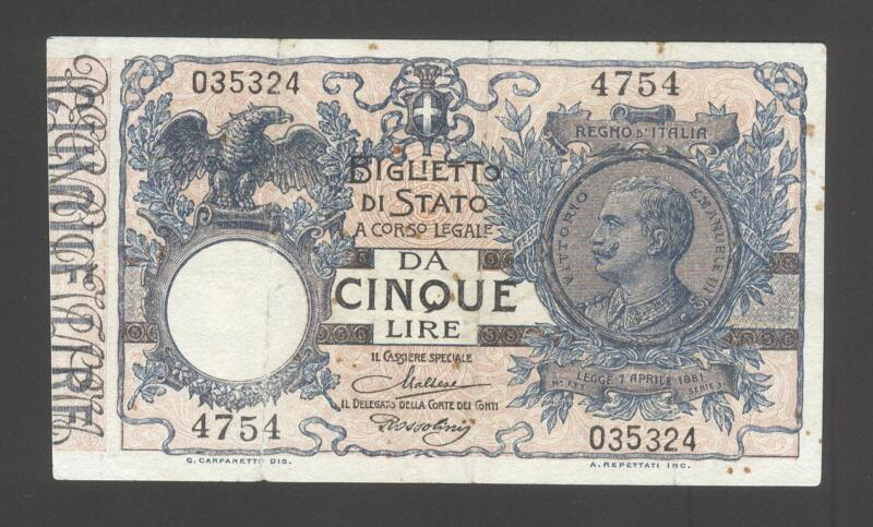 Italy 5 Lire 1923 VG-F P. 23,  Banknotes, Circulated
