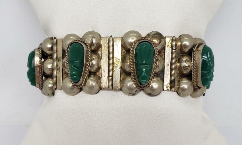 Vintage Mexico Sterling Silver Carved Green Onyx Tribal Mask Link Bracelet
