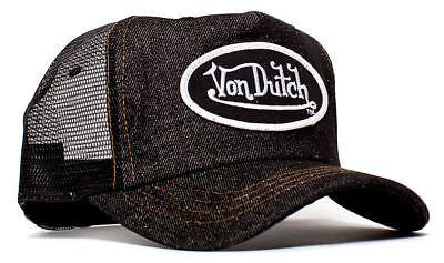 (Authentic Brand New Von Dutch Black Denim Cap Hat Mesh Snapback )