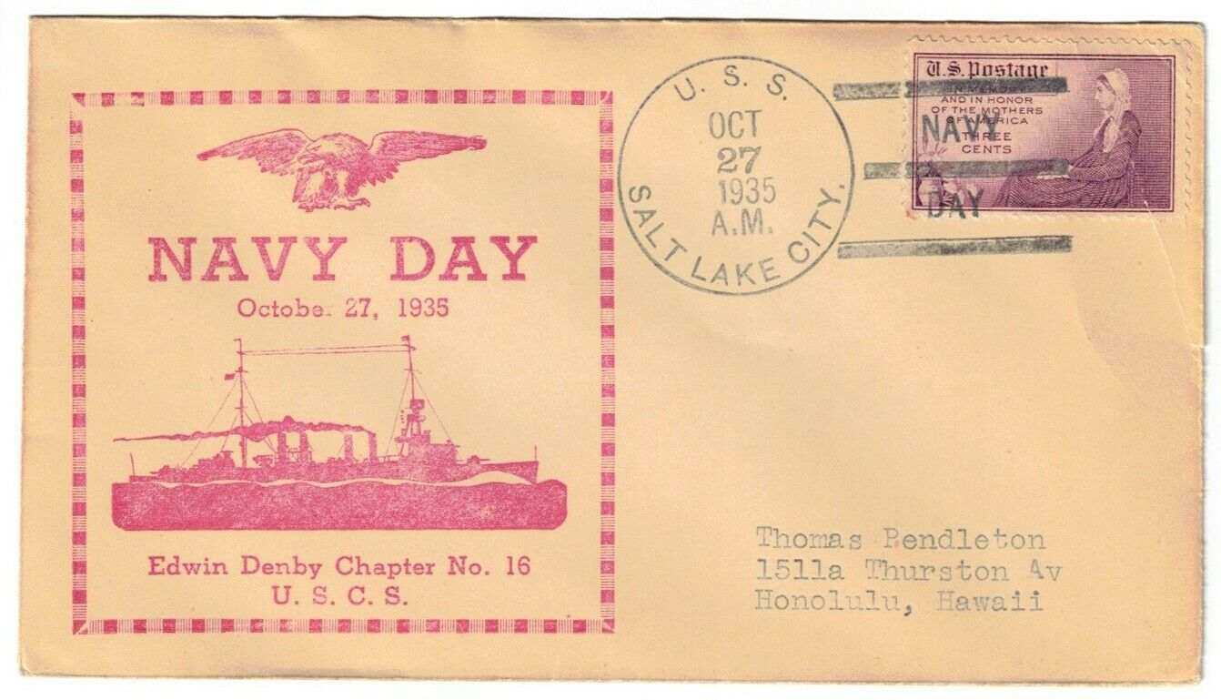 USS SALT LAKE CITY CA-25, OCT 27, 1935 NAVY DAY, T-3 AC-BBT 1935-1937 CANCEL - $3.00