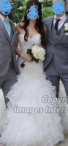 Wedding dress, veil, robe and accessories