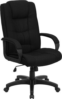 High Back Black Fabric Executive Office Desk Chair With Built-in Lumbar Support