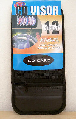 12 Disc Capacity Visor CD Holder w/zipper Pouch Black