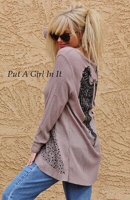 BE VOCAL PLUS SIZE PEARL CRYSTAL TAUPE ANGEL WINGS TUNIC TOP SHIRT 1X 2X 3X USA