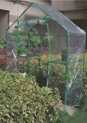 WALK IN GREENHOUSE 4 SHELVES PLASTIC PVC COVER OUTDOOR GARDEN GROW ROLLUP NEW