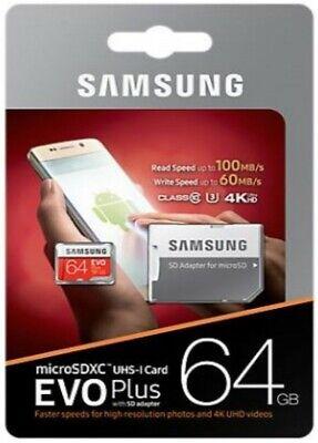 Memory Card Samsung EVO Plus Scheda MicroSD 64GB UHS-I 100 MB/s con Adattatore