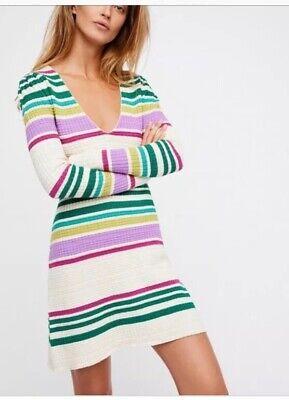 NWT Free People Women's Multi Striped Gidget Knit Long Sleeve Dress Small S $148