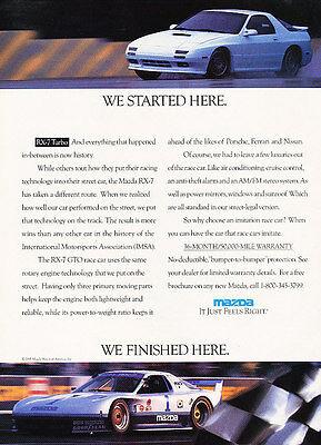 1991 Mazda Rx7 Turbo - white - Classic Vintage Advertisement Ad H08
