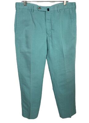 Men's 35x31 (Tag 36) Green Incotex Chinolino Slowear Linen Cotton Chino Pants