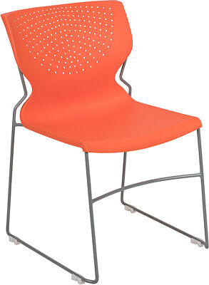 Heavy Duty Orange Stack Office Chair With Sled Metal Base - Waiting Room Chair