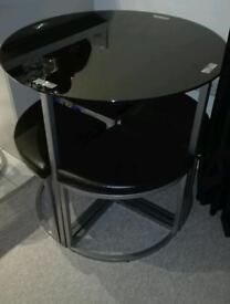 Hygena Glass Round Dining Table & 4 Chairs