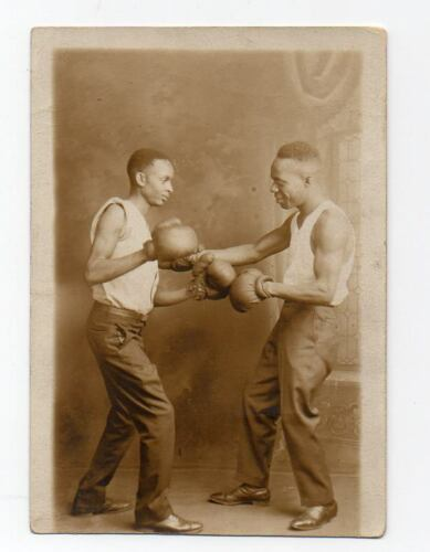 2 African American Men Boxing ORIG PHOTO POSTCARD Black Americana