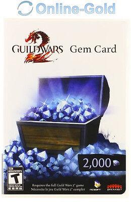 2000 Guild Wars 2 Gem Card Key - 2000 Edelsteine Code für GW2 Neu [PC][DE][EU]