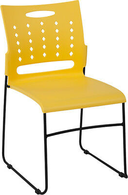 Heavy Duty Sled Base Yellow Plastic Office Guest Chair - Waiting Room Chair