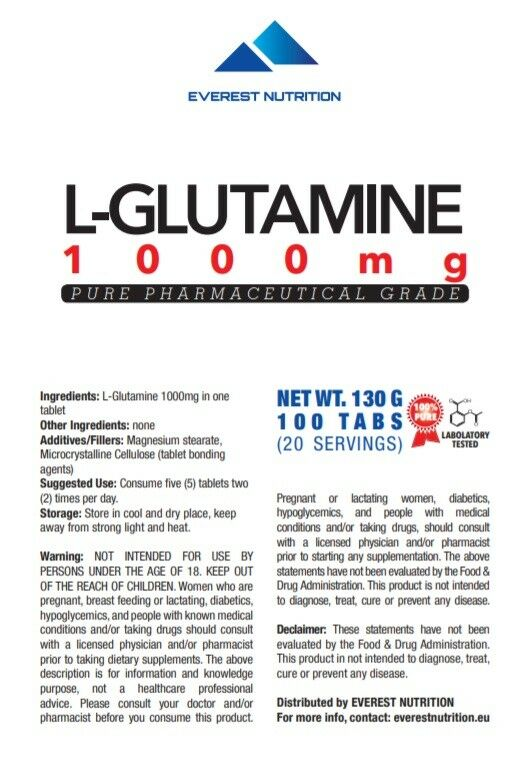 GLUTAMINE 1000 mg TABLETS PURE PHARMACEUTICAL QUALITY ANTICATABOLIC, LEAN MUSCLE 1