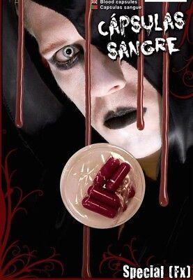 6 Künstliches Blut Pille Kapseln Halloween Vampir Streich Scherz Party Kostüm