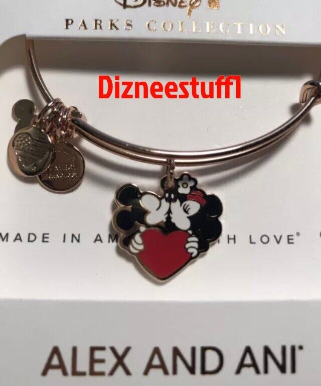 Disney ALEX AND ANI Mickey Minnie Kissing Bracelet Rose Gold