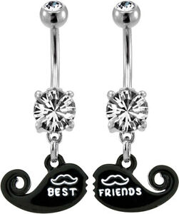 Mustache-Best-Friends-BFF-2-Piece-Navel-Bar-Belly-Ring-Body-Piercing-BNASTCHBF