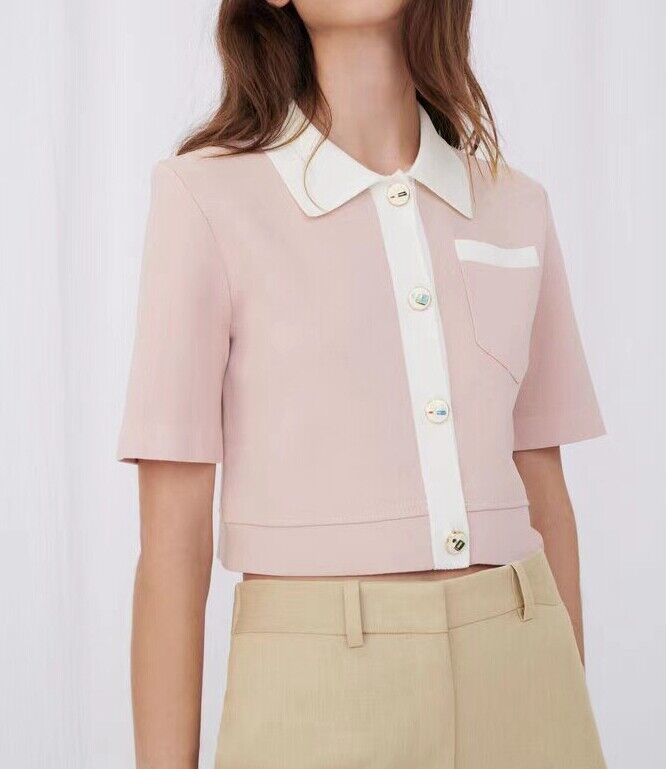 AUTH Maje CROPPED CARDIGAN WITH CONTRASTING BANDS Pale Pink 1, 2, 3