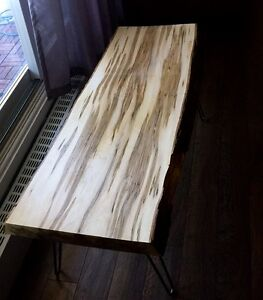 STUNNING HAND CRAFTED LIVE EDGE AMBROSIA MAPLE COFFEE TABLE