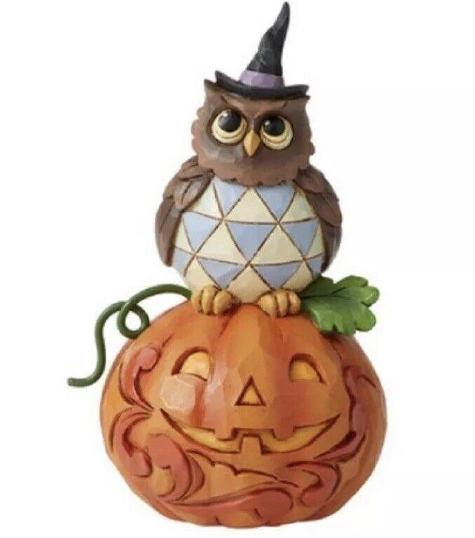 "Jim Shore Jack O Lantern w Owl Halloween Harvest Figurine 4.2""H NIB Stone Resin"