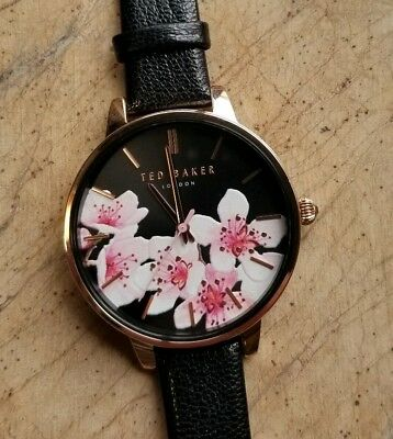 1a03d6b16 Ted Baker TE50647003 Watch With 38mm Floral Dial   Black Leather Band