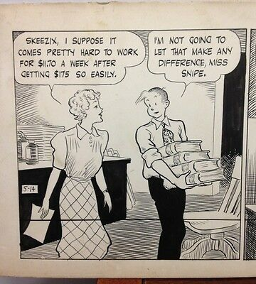 GASOLINE ALLEY Original Comic Strip Art FRANK KING 5-1-1940 Skeezix Sally Snipe