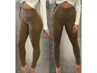 Brown Criss-Cross Tied High Waist Pants, M