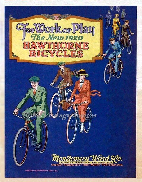 Vintage Bicycle Ad Hawthorne Bike Montgomery Ward Usa 1920