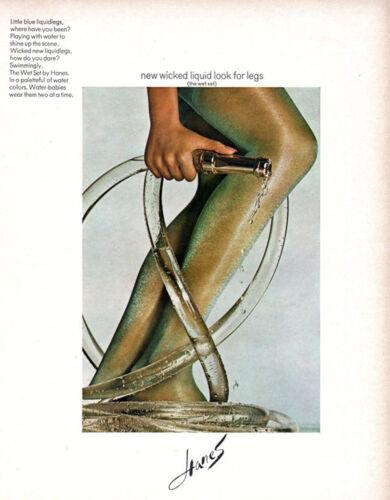 Hanes Wet Set Pantihose STOCKINGS Wicked Liquid Look SEXY LEGS 1968 Print Ad