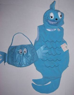 POTTERY BARN KIDS DR. SEUSS BLUE FISH COSTUME + TREAT BAG 12-24 MO NWT Halloween