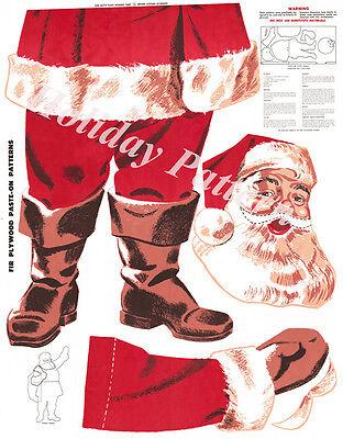 Douglas Fir Plywood Christmas Santa Pattern Digital Reproduction+ Wreath