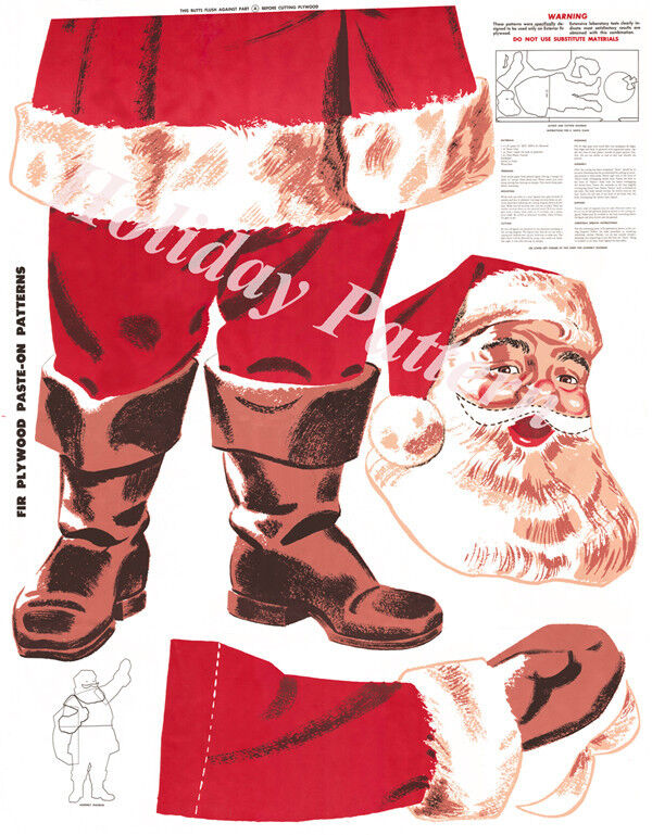 Douglas Fir Plywood Christmas Santa Pattern Digital Reproduction+ Wreath
