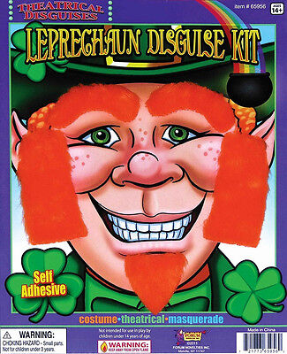 Leprechaun Disguise Kit Orange Irish Sideburns Beard Halloween Costume Accessory - Leprechaun Beards