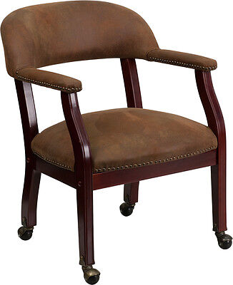 Brown Guest Conferenence Desk Side Chairs With Casters