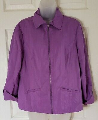 Women's Chicos Size 1 (Medium) Purple Nylon Polyester Jacket Zip