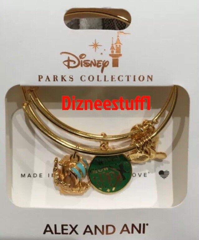 Disney Alex & And Ani Peter Pan Never Grow Up Jolly Roger Gold Bracelet