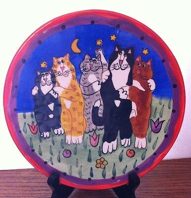 "CATZILLA Ceramic Hug Fest Kitty Cat Feline Couples SALAD DECORATIVE PLATE 8"""