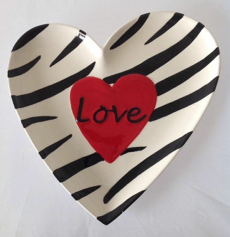 Heart Shaped Zebra Striped Plate Dish with Red Love Heart for Valentines Day